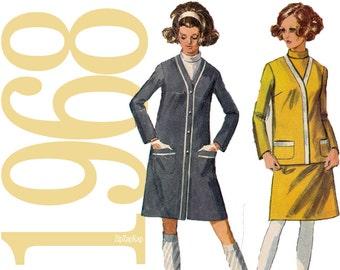 1960s Dress Vintage Pattern - B34 - Simplicity 7991 - Jacket Sewing Pattern - 60s Dress Pattern