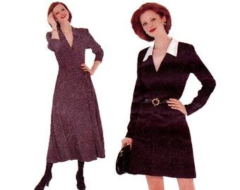 Mock Wrap Dress Pattern - Size 18, 20, 22 - McCalls 7872 - Uncut, Factory Folds