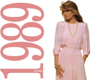 80s Dress Vintage Pattern - B40 - Simplicity 9015 - Uncut, Factory Folds