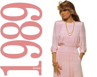 80s Dress Vintage Pattern - B40 - Simplicity 9015 - Uncut, Factory Folds