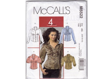 Fitted Shirts Sewing Pattern - Size 6, 8, 10, 12 - McCalls 5522 - Uncut, Factory Folds