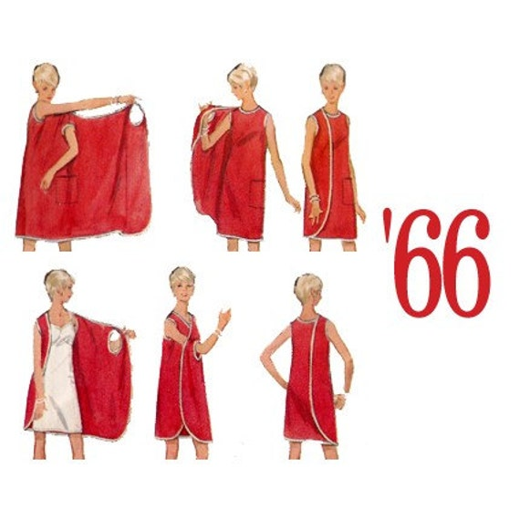 1966 Three Arm Wrap Dress or Beach Coverup Vintage Sewing Pattern Butterick 4699 Small