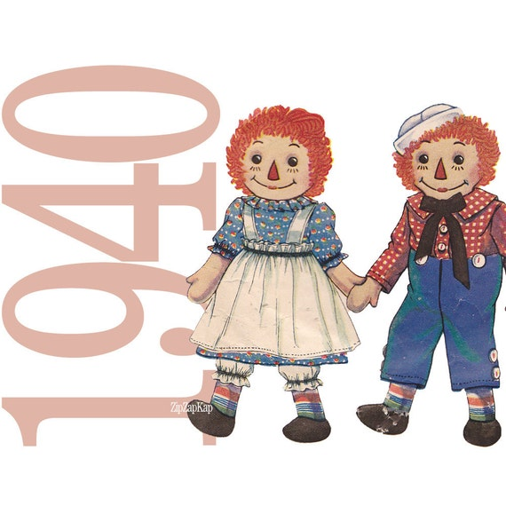 1940 Raggedy Ann & Raggedy Andy Doll Pattern with Clothes McCall 820