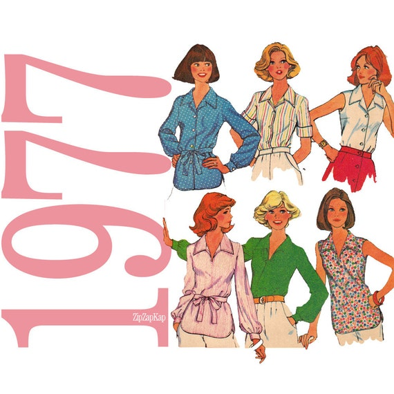 70s Blouses Vintage Sewing Pattern - McCalls 5597 - Womens Shirts Sewing Pattern