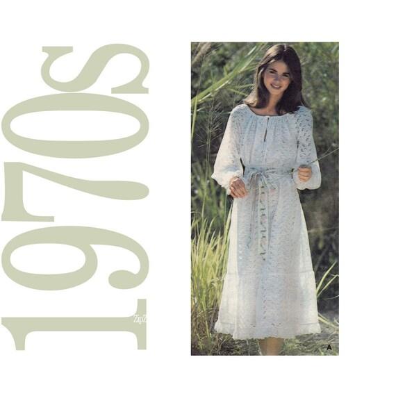 70s Ruffle Dress Vintage Pattern - B32 - Butterick 5311