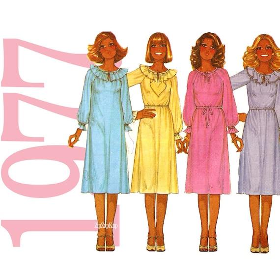 70s Ruffle Dress Vintage Pattern B36 McCalls 5888  UNCUT FF