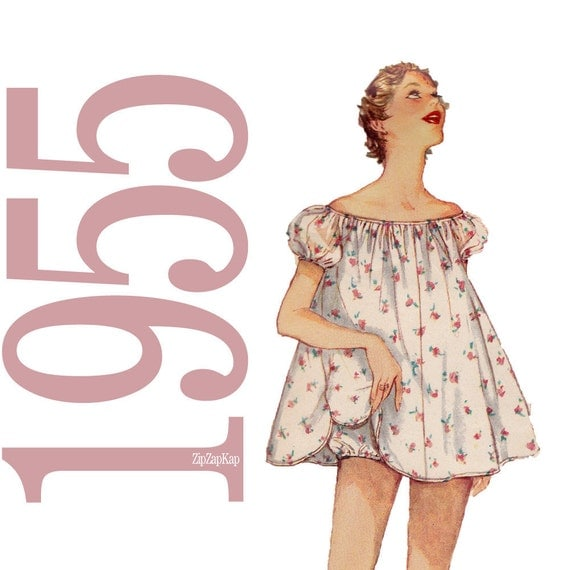 50s Shortie Nightgown and Panties Vintage Pattern - b38 - Simplicity 1102