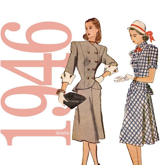 1940s Two Piece Dress Vintage Pattern - B 32 - Simplicity 1866