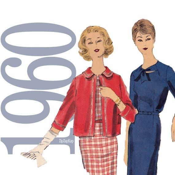 60s Dress, Jacket Vintage Pattern - B34 - Vogue 4100