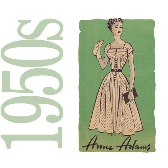 50s Dress Vintage Pattern - B36  -Anne Adams 4585