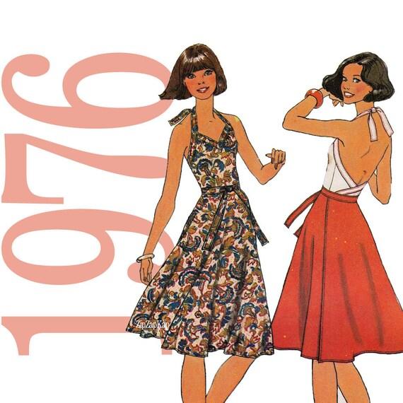 70s Halter Dress Vintage Pattern - B30 - Simplicity 7545 - Uncut, Factory Folds