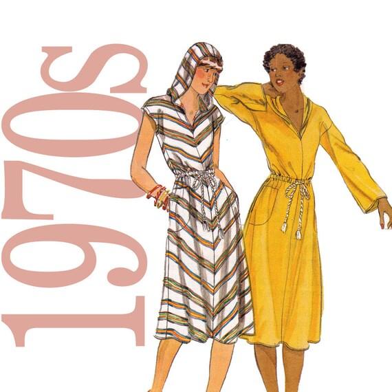 70s Hooded Dress Vintage Pattern - B30 - Butterick 5249 - Uncut, Factory Folds, NOS