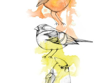 SALE - Three little birds,  print 210x297 mm