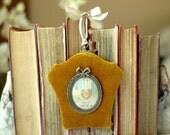 Gold, Aqua Love Token 7 Heart in Hand Papercutting Love Token in Vintage Velvet Frame - Under 50