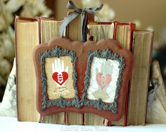 Valentine's Day Wedding Anniversary Gift - Heart in Hand - Antique Velvet Double Frame Love Token Papercut Art
