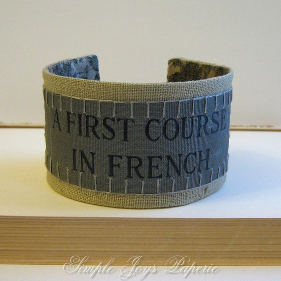 Vintage French Book Cover Cuff  - As seen in Better Homes and Gardens - Eco Friendly - Extra Large - Men, Guys, Brother, Boyfriend, Husband