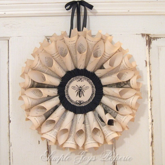 MTO French Bee with Black Accents Vintage Book Wreath - Shabby Chic Paris Flea Market Decor