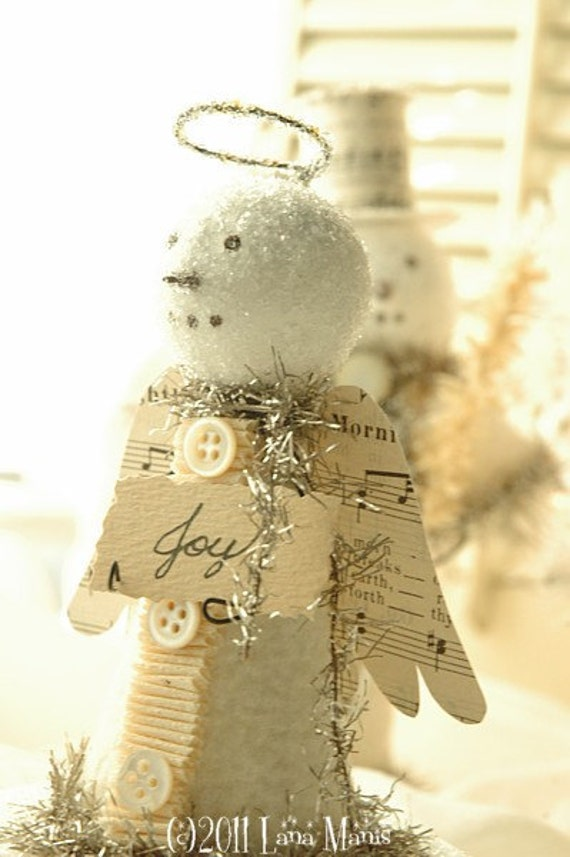 JOY Snow Angel on Candy Container Box - Winter White, Glass Glitter, Vintage Sheet Music, Mother of Pearl Buttons