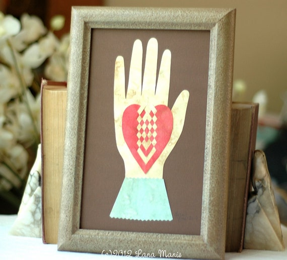 Heart in Hand Love Token - Early American Valentine - Engagement, Wedding, Anniversary