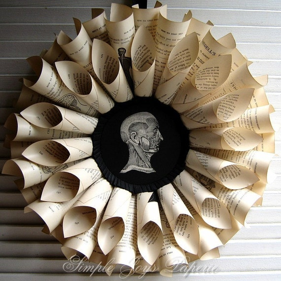 1897 Medical Book Paper Wreath Sculpture for doctors \/ physicians, nurses, medical students \/ CSSTeam