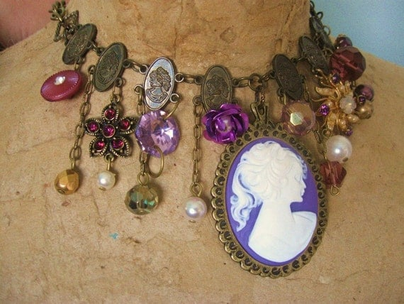 Purple Cameo Necklace vintage Costume Jewelry collage, Lavender Lady, FREE SHIPPING by Maddie Lisee