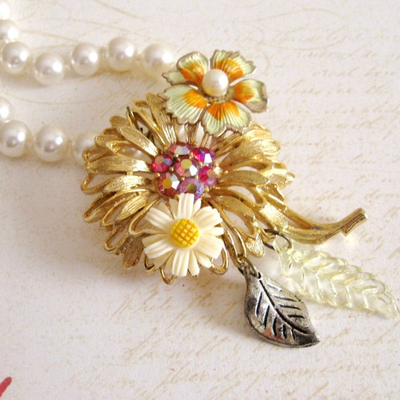 Vintage Costume Jewelry Statement Necklace Assemblage Pink Flower Spring Floral Daisy Leaves, Flower Show, FREE SHIPPING by Maddie Lisee
