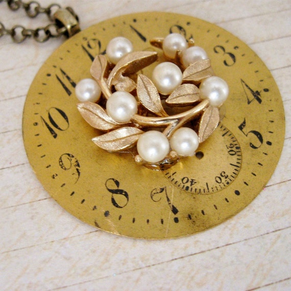 Antique Vintage Pocket Watch Gold Black Face Pearls Steampunk Necklace, My Ideal, FREE SHIPPING