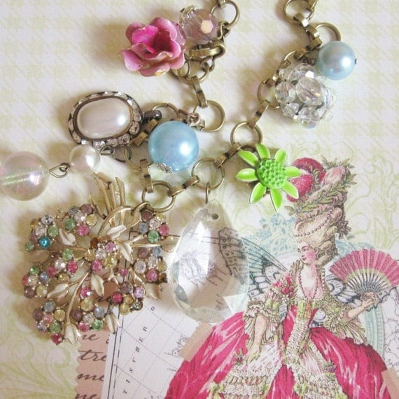 Antique Vintage Necklace Costume Jewelry Rhinestone spring pastels, Marie, FREE SHIPPING by Maddie Lisee