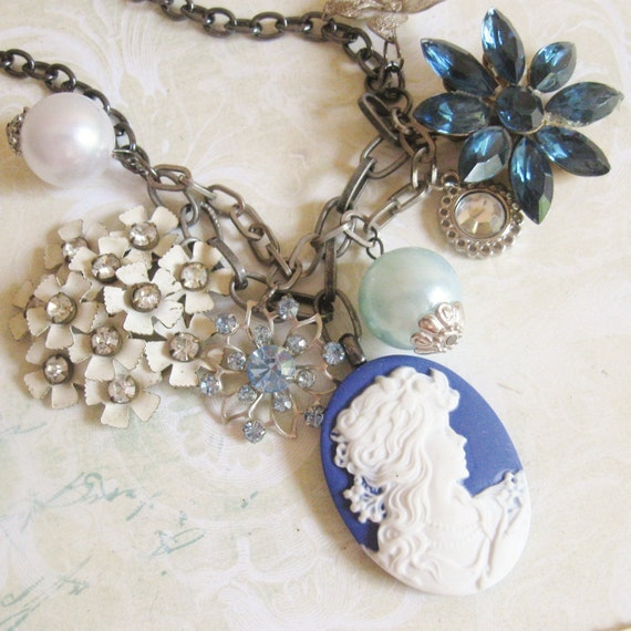Antique Vintage Necklace Costume Jewelry Blue By Maddielisee