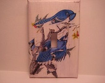 Vintage Print Blue Jay Light Switch Cover