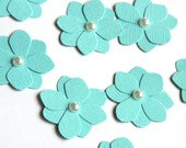 ON SALE - 10 Handmade Paper Flowers in Tropical Blue