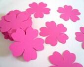 50 Handmade Paper Flowers in Pink, Fuchsia Flowers, Die Cut Paper Flowers
