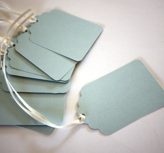 10 Handmade Paper Tags in Ice Blue
