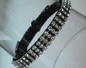 Swarovski Crystal Rhinestone Dog Collar - 3 Row Clear on Black - 12 Inch Maltese Size