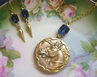 Horse Necklace ~ Vintage Locket ~ Equestrian ~ English ~ Western ~ Pendant ~ Sapphire  (SET) ~ by Upsweptillusions