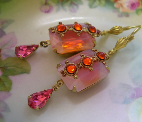 Coral, Pink, Earrings, Vintage Jeweled - Spice Market