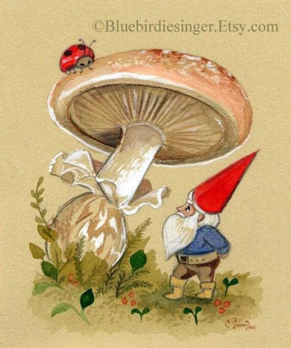 Hello Ladybug Gnome Painting in Gouache