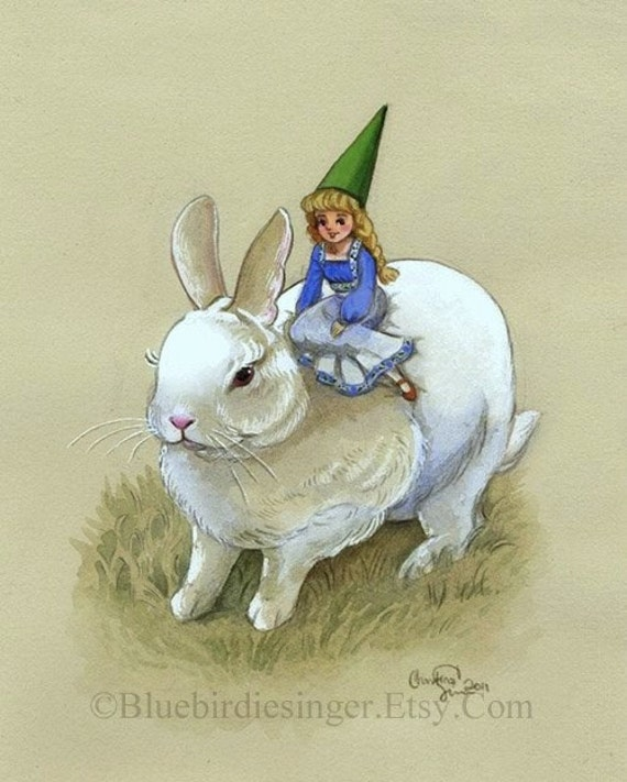 White Rabbit Bunny and Lady Gnome Art Print