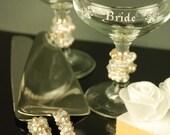 Pearls wedding cake serving set with charming vintage toasting glasses by Jbox