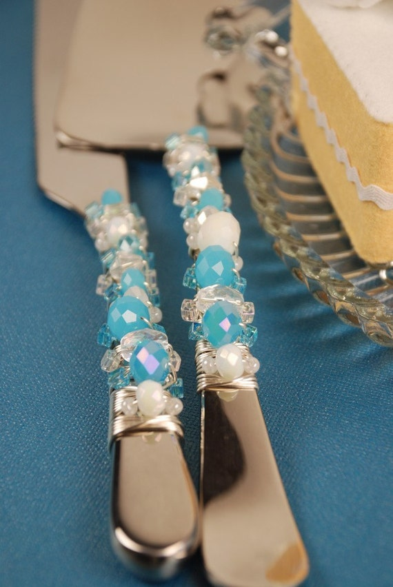 Tiffany Blue White And Crystal Wedding Cake Knife And Server