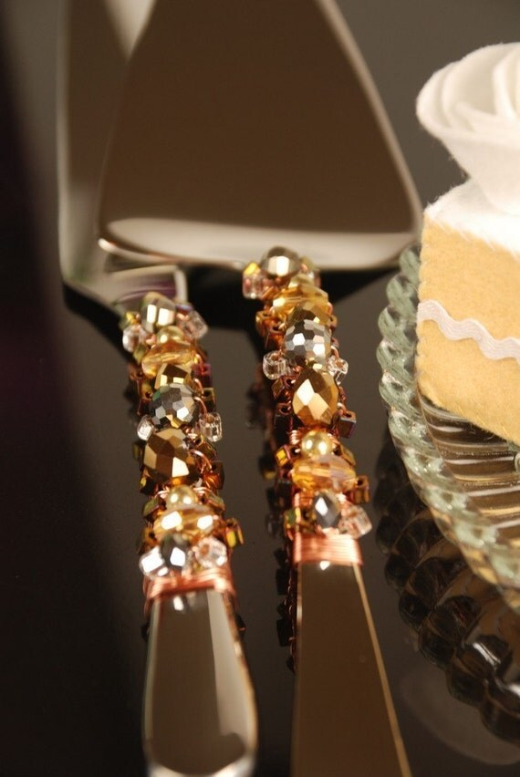 Silver Copper And Gold Beaded Wedding Cake Serving Set