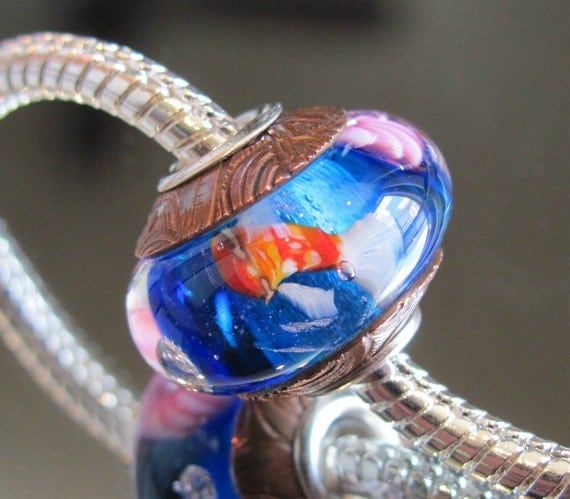 """SALE Tangled Sky Glass """"Koi Pond"""" With Crystal Fully Sterling Silver Lined Lampwork Charm Bead For Chamilia, Troll"""