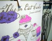 Silkscreen & Letterpress Let Them Eat Cake Kitchen Print- Marie Antoinette Foodie Quote Art