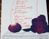 Letterpress & Silkscreen Plums Kitchen Print-William Carlos Williams Poem- Foodie Quotes