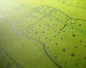 Silkscreen & Letterpress Corks Green Kitchen Print- Foodie Art