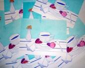 Letterpress & Watercolor Macaron and Tea Cup Kitchen Print- Foodie Art