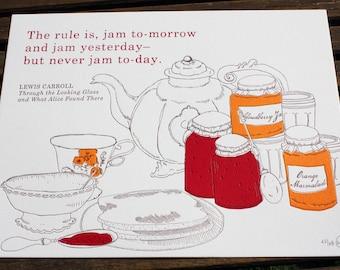 Letterpress & Silkscreen Jam Tomorrow Kitchen Print-Alice in Wonderland Foodie Quote