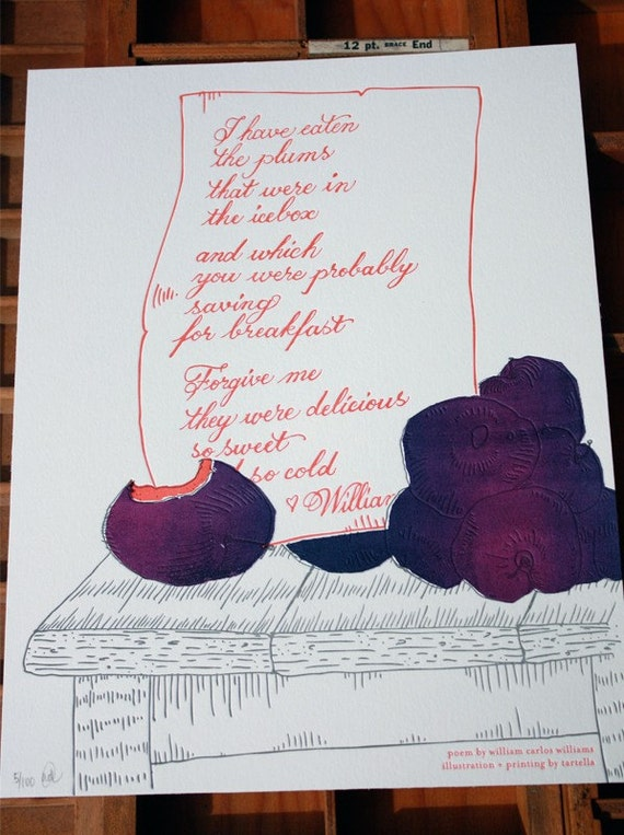 Letterpress & Silkscreen Plums Kitchen Print-William Carlos Williams Poem- Foodie Quotes