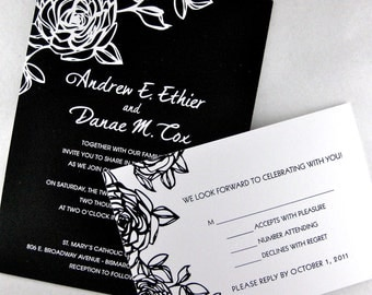 Black and White Rose Wedding Invitation Set