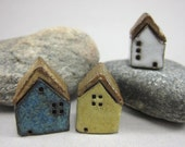 Yellow-White-Blue...Rustic Miniature Houses in Stoneware